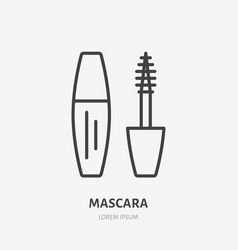 Mascara flat line icon beauty care sign vector
