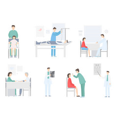 Medic and patient in hospital on medical hand vector