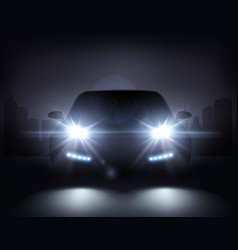 Modern car lights composition vector