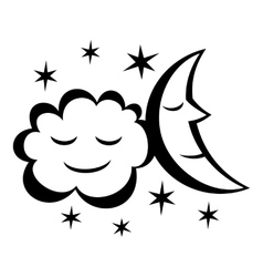 Moon and stars night icon vector