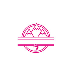 mountain adventure mono line logo designs vector image