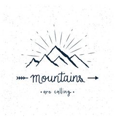 mountains are calling hand lettering vector image