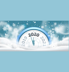 new year winter clock celebration 2020 countdown vector image