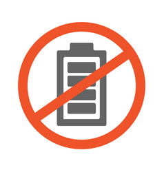 no battery symbol design forbidden vector image