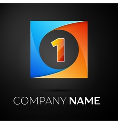 Number one logo symbol in the colorful square on vector image