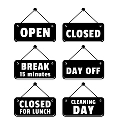 open and closed signs vector image