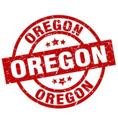 Oregon red round grunge stamp vector