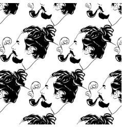 pattern with hand drawn man vector image