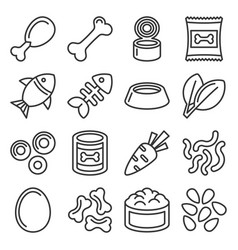 Pet food icons set on white background line style vector