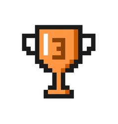pixel art bronze cup award trophy icon vector image