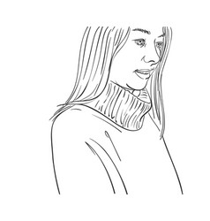 Portrait young woman with long hair looking vector