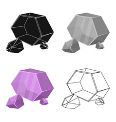 Purple rough gemstone icon in cartoon style vector