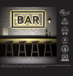realistic bar interior template vector image