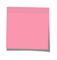 rosy paper sticky note glued to surface vector image