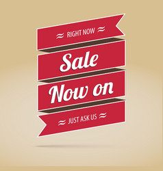Sale now on inscription on the ribbon poster vector image