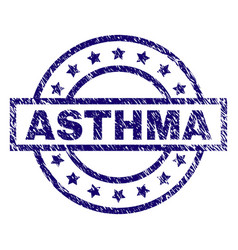 Scratched textured asthma stamp seal vector