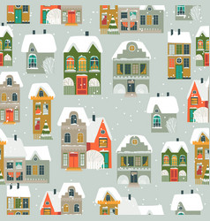 seamless pattern with cartoon little town in vector image