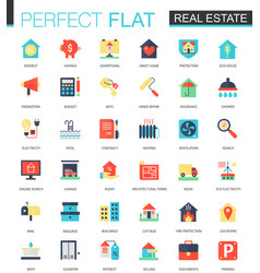 set flat real estate icons vector image