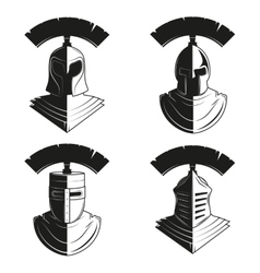 set icons ancient helmets and vector image