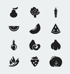 set of 12 editable fruits icons includes symbols vector image