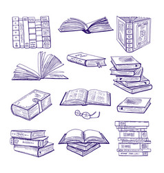 Set of different books hand drawn sketch vector