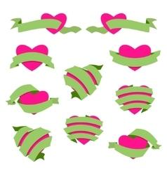 Set of Heart and Ribbon Green vector image