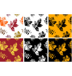 set seamless pattern from ink stamps fall vector image