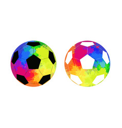 set soccer ball with watercolor rainbow vector image