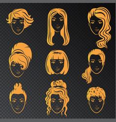 set stylized gold logo with beautiful vector image