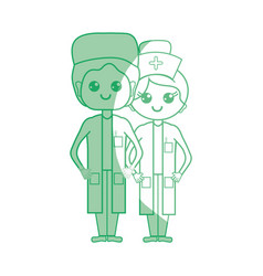Silhouette doctor and nurse to help people vector