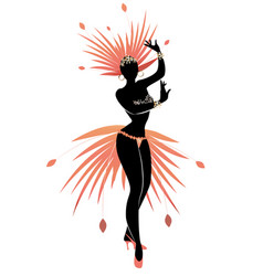 silhouette of girl dressed like a star feathered vector image