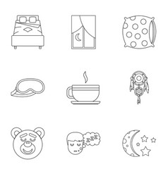 sleep symbols icon set outline style vector image