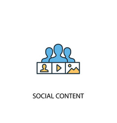 social content concept 2 colored line icon simple vector image