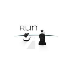 Sport shoes wellness running concept logo vector