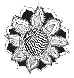 Sunflower in doodle style Coloring page vector image