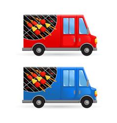 Taichan yakitori satay food truck street food van vector