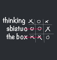 think outside the box concept with tic tac toe vector image