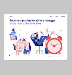 time management flat banner vector image