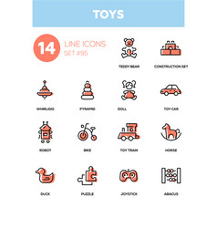 Toys - modern line design icons set vector