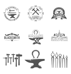 Vintage blacksmith and metalworks logos emblems vector