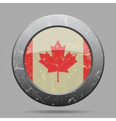 Vintage metal button with flag of Canada - grunge vector