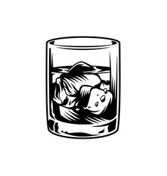 Vintage monochrome glass of whiskey vector