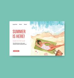 Website template design for summer travel vector