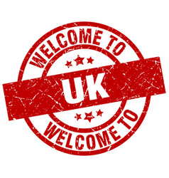 welcome to uk red stamp vector image