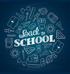whiteboard back to school with school supplies vector image