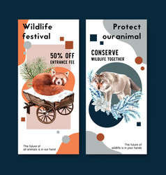 winter animal flyer design with fox leaves vector image