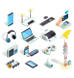 Wireless Technology Devices Isometric Icons Set vector image