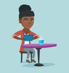 woman surfing in the social network in the cafe vector image
