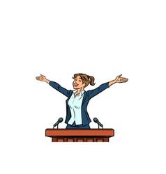 women politician speaker on podium vector image