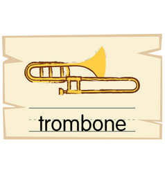 Wordcard template for trombone vector